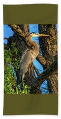 Heron In The Pine Tree Bath Towel