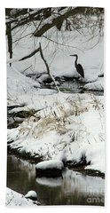 Heron In Winter Hand Towel