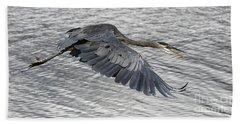 Heron In Full Flight Hand Towel