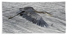 Heron In Full Flight Bath Towel
