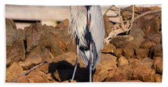 Heron On The Rocks Bath Towel