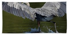 Heron On The Run Bath Towel