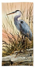 Heron Sunset Hand Towel by James Williamson