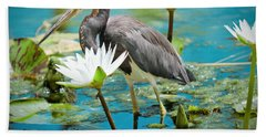 Heron With Water Lillies Bath Towel