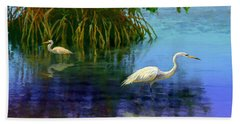 Herons In Mangroves Bath Towel by David  Van Hulst