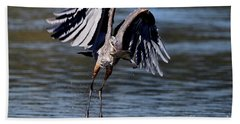 Great Blue Heron In Flight With Fish Hand Towel