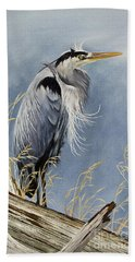 Bath Towel featuring the painting Herons Windswept Shore by James Williamson
