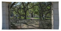 Hand Towel featuring the photograph Heyman House Gates 1 by Gregory Daley  PPSA