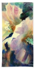 Hand Towel featuring the painting Hibicus Up Close by Kathy Braud