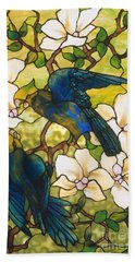 Hibiscus And Parrots Hand Towel by Louis Comfort Tiffany