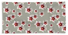 Hand Towel featuring the mixed media Hibiscus Flower Pattern by Christina Rollo