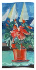 Hibiscus With An Orange And Sails For Breakfast Hand Towel