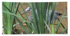 Hand Towel featuring the photograph Hidden Blue Heron by Kathy Kelly