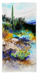 Hand Towel featuring the painting High Desert Scene by M Diane Bonaparte