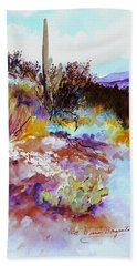 Hand Towel featuring the painting High Desert Scene Warm by M Diane Bonaparte
