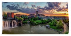 Bath Towel featuring the photograph High Falls Panorama by Mark Papke