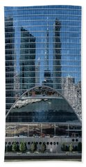 High Rise Reflections Hand Towel by Alan Toepfer