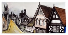 High Street Of Stamford In England Hand Towel by Dora Hathazi Mendes