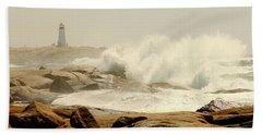 High Surf After A Hurricane Crashing On The Rocks At Peggy's Cove, Nova Scotia, Canada Bath Towel