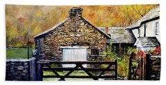 Hand Towel featuring the painting High Yewdale Farm by Alan Lakin