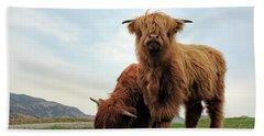 Highland Cow Calves Hand Towel