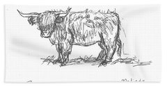 Highland Cow Field Sketch Bath Towel