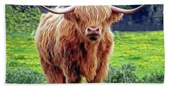 Bath Towel featuring the painting Highland Cow by Harry Warrick