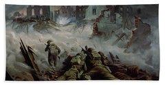 Highlanders Advancing To Caen Hand Towel
