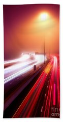 Highway Traffic Light Trails In Fog At Nighttime Hand Towel