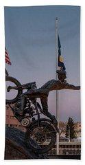 Hill Climber Catches The Moon Bath Towel by Randy Scherkenbach