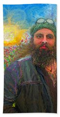 Bath Towel featuring the painting Hippie Mike by Hidden Mountain