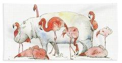 Hippo And Flamingos Hand Towel