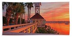 Historic Bridge Street Pier Sunrise Hand Towel