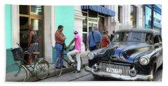 Historic Camaguey Cuba Prints The Cars 2 Bath Towel