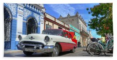 Historic Camaguey Cuba Prints The Cars Bath Towel