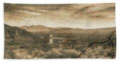 Historic Rhyolite Nevada With Map Bath Towel