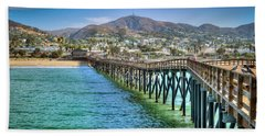 Historic Ventura Wood Pier Hand Towel by David Zanzinger