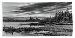 Historic Whitebog Landscape Black - White Hand Towel