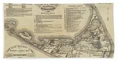 Historical Map Of Nantucket From 1602-1886 Bath Towel