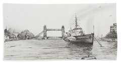 Hms Belfast On The River Thames Hand Towel