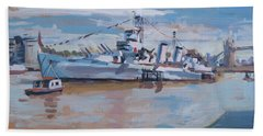 Bath Towel featuring the painting Hms Belfast Shows Off In The Sun by Nop Briex