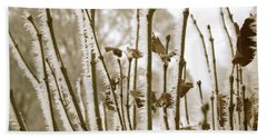 Hoarfrost Branches In Sepia Bath Towel