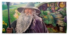Hand Towel featuring the painting Hobbit by Paul Weerasekera