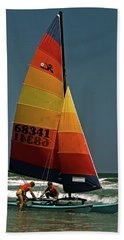 Hobie Cat In Surf Hand Towel by Sally Weigand