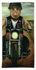 Hog Wild Hand Towel by Leah Saulnier The Painting Maniac