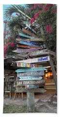 Hogfish Bar And Grill Directional Sign Bath Towel