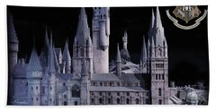 Hand Towel featuring the mixed media Hogwards School  by Gina Dsgn
