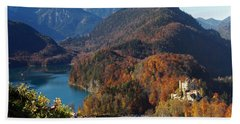 Hohenschwangau Castle And Alpsee In Bavaria Hand Towel