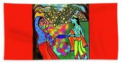 Hand Towel featuring the digital art Holi by Latha Gokuldas Panicker