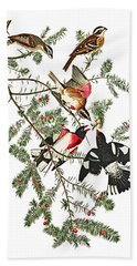 Hand Towel featuring the photograph Holiday Birds by Munir Alawi